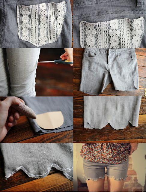 diy jean shorts: A Mini-Saia Jeans, Diy'S Jeans, Diy'S Shorts From Old Jeans, Shorts Makeovers, Lace Pocket Shorts, Diy'S Clothing, Jeans Shorts, Diy'S Fashion, Lace Shorts