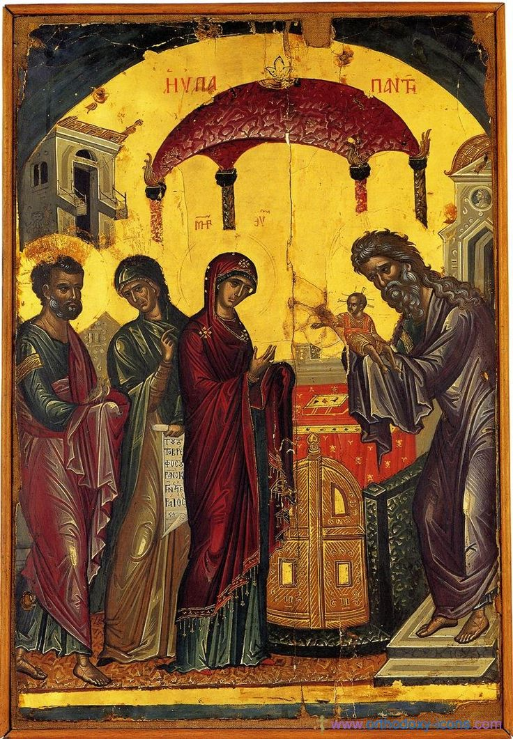 Meeting of our Lord. Ancient icons of Jesus Christ