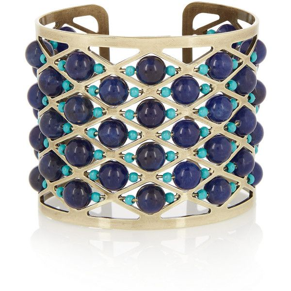 Etro Gold-plated, lapis lazuli and turquoise cuff ($685) ❤ liked on Polyvore featuring jewelry, bracelets, accessories, blue, boho chic jewelry, gold plated jewelry, turquoise jewelry, turquoise bangle and bohemian jewelry