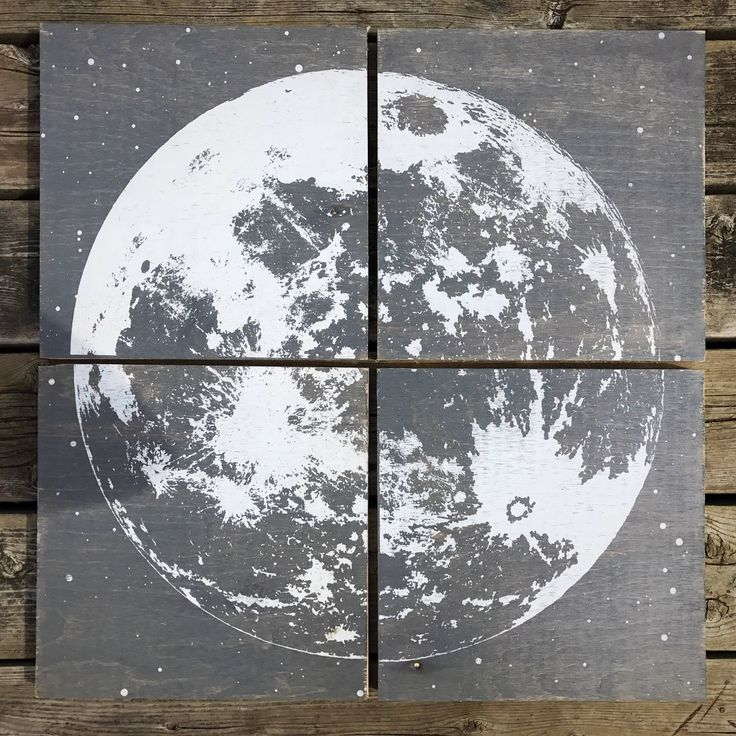 24x24 wooden hand screen printed moon decoration by CreationsSauvages on Etsy
