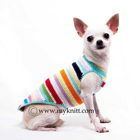 Rainbow Dog Shirts Cotton Handmade Crochet Colorful Teacup Chihuahua Clothes Pet Clothing Cat Shirts DK995 by Myknitt - Free Shipping
