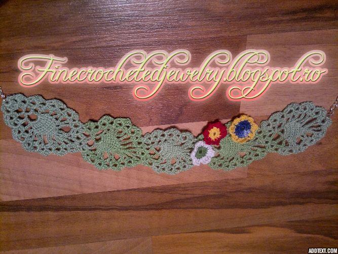 Crochet flower necklace http://www.finecrochetedjewelry.blogspot.ro/