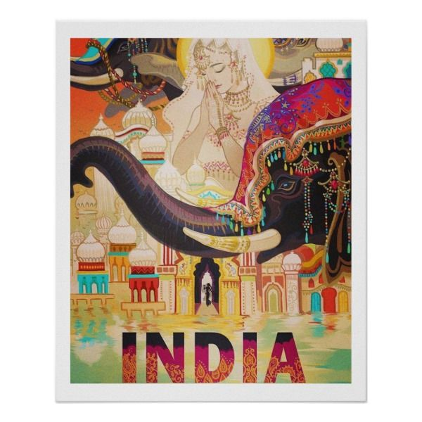 Vintage India Travel Poster Zazzle Com In 2020 India Art India Painting India Poster