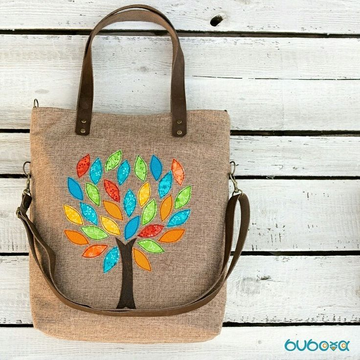 Colorful. #tree #bag #canvasbag #fabricbags #colours #leaves #zippered #leather #leatherstraps #genuineleatherstraps #handmadebag #convertiblebag #hungarianetsyteam #applique #appliquedbag #rawedgeapplique
