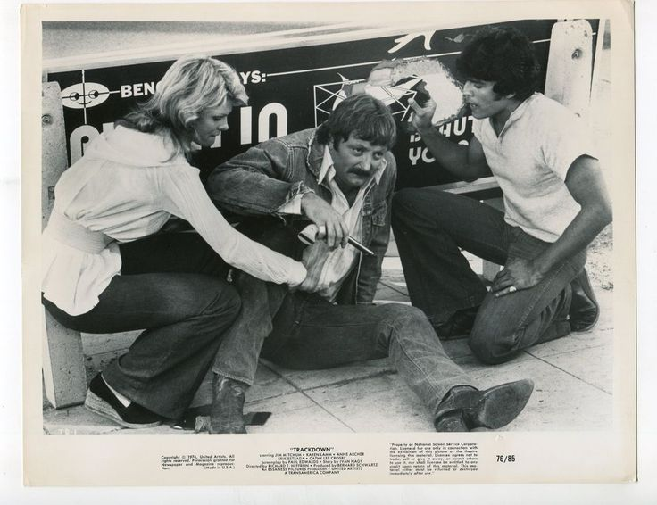 Cathy  Lee  Crosby, James  Mitchum, and  Erik  Estrada  in  Trackdown  (1976).