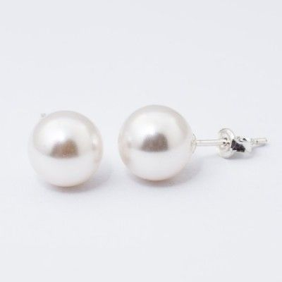 Swarovski Pearl Earrings 10mm White  Dimensions: length: 2,2cm pearl size: 10mm Weight ~ 3,30g ( 1 pair ) Metal : sterling silver ( AG-925) Stones: Swarovski Elements 5818 10mm Colour: Crystal White Pearl 1 package = 1 pair Price 9.90 PLN( about`2,5 EUR)