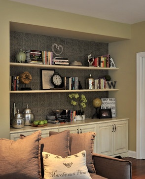 Pressed tin in this custom built in bookcase