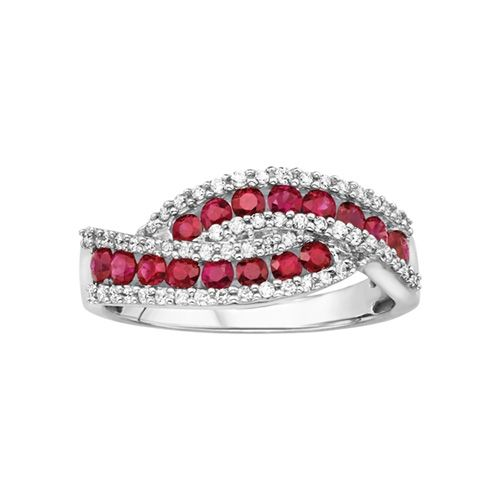 Stand out in style with this stunning swirl patterned ring featuring a row of elegant round heat-treated ruby gemstones accented with delicate 1/3 carat total weight round diamonds set in a 14 karat white gold channel band setting. Complete your look w...
