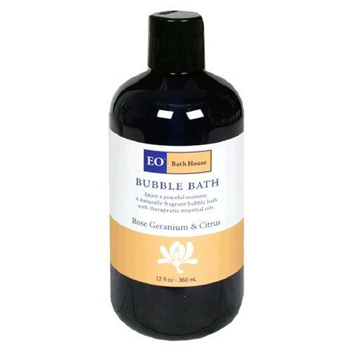 EO Bubble Bath, Rose Geranium & Citrus, 12-Ounce Bottles (Pack of 3) by EO. $27.59. No irritating sodium lauryl/laureth sulfates. Our Coconut Oil Cleansing Complex is one of the gentlest, most effective and richly foaming formulas available. Gentle enough for the whole family. A luxurious and naturally fragrant bubble bath made with pure, therapeutic-grade essential oils.. Balancing & Refreshing. Enjoy a peaceful moment. A naturally fragrant bubble bath with therapeutic es...