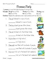Pronoun Worksheet: A pronoun is a word that takes the place of naming words. Replace the underlined words in each sentence with He, She or It. Information: Pronoun Worksheet. Pronoun, Naming Words, He, She, It. Language. Answer Key Included.