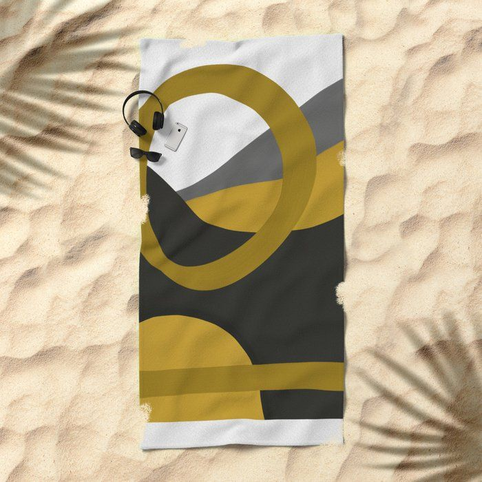 Timekeeper Ii Beach Towel Little Gold Pixel Towel