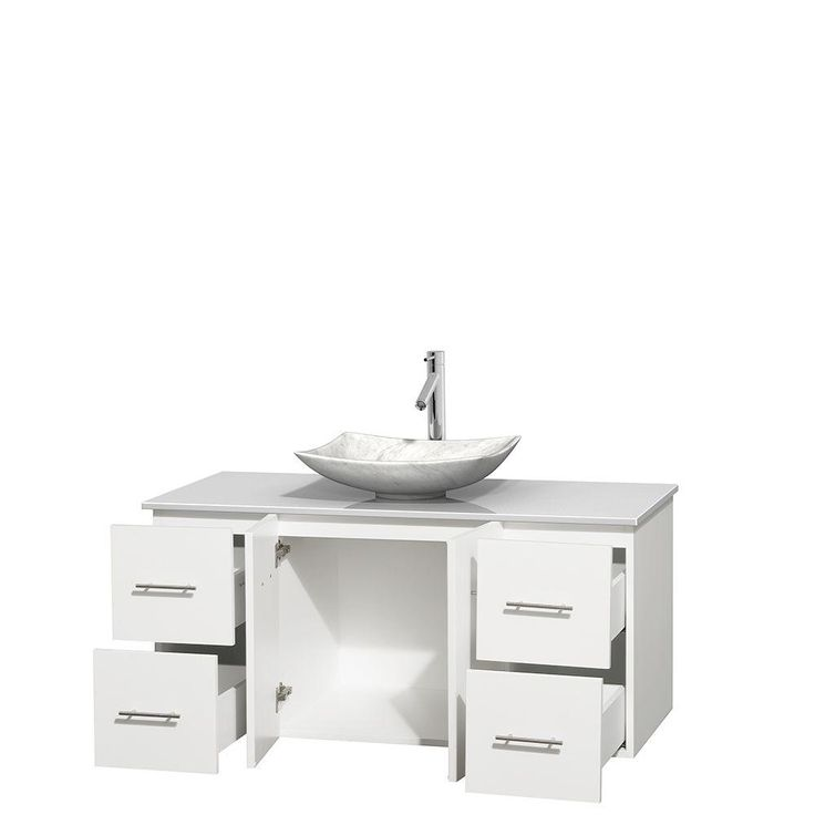 Wyndham collection centra 48 in vanity in white with - How to clean marble bathroom vanity top ...
