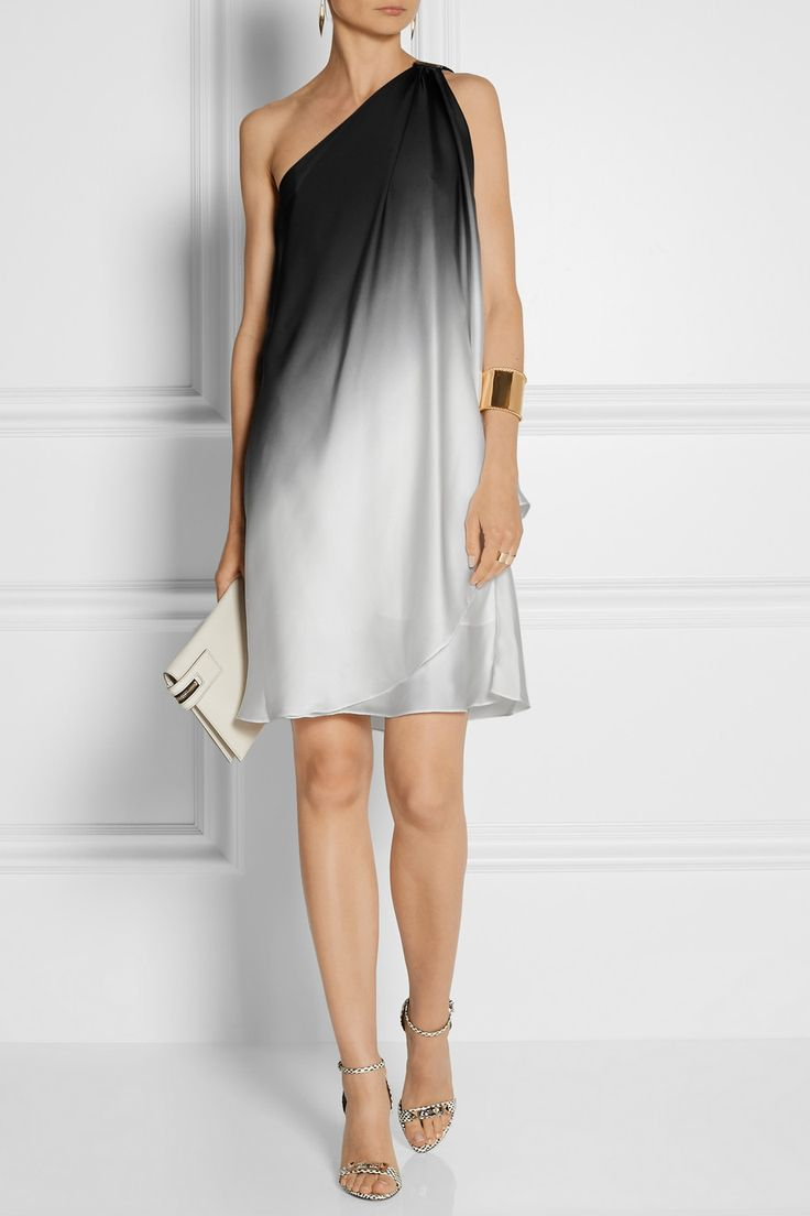 Halston Heritage | One-shoulder dégradé charmeuse dress | NET-A-PORTER.COM