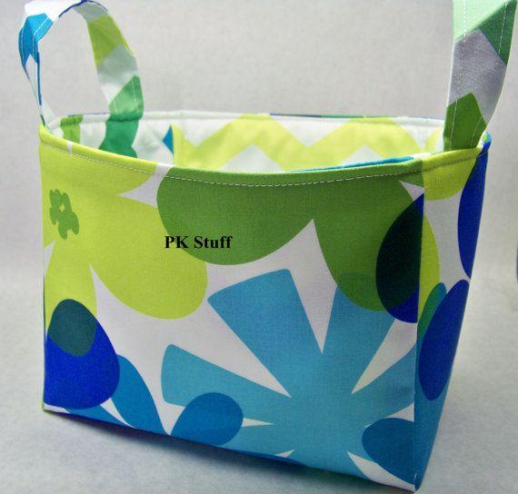 PK Fabric Basket in Tropical Island in Lagoon  Ready To by PKStuff, $14.50Pk Fabrics, Fabrics Baskets, Fabric Basket