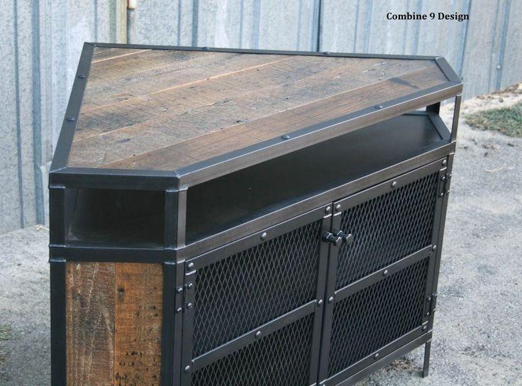 Custom Made Vintage Industrial Tv Stand - Corner Unit. Steel, Reclaimed Wood. Urban, Modern, Mid Century.