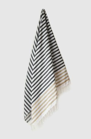 Sheker Candy Stripe Turkish Towel Black and Camel  - $49 AUD