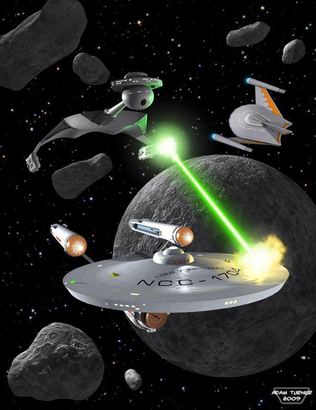 Enterprise in battle with Klingon D7 Battle Cruiser and Romulan Bird of Prey.