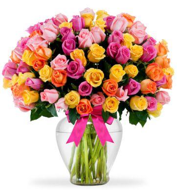 100 rosas arcoiris enviaflores