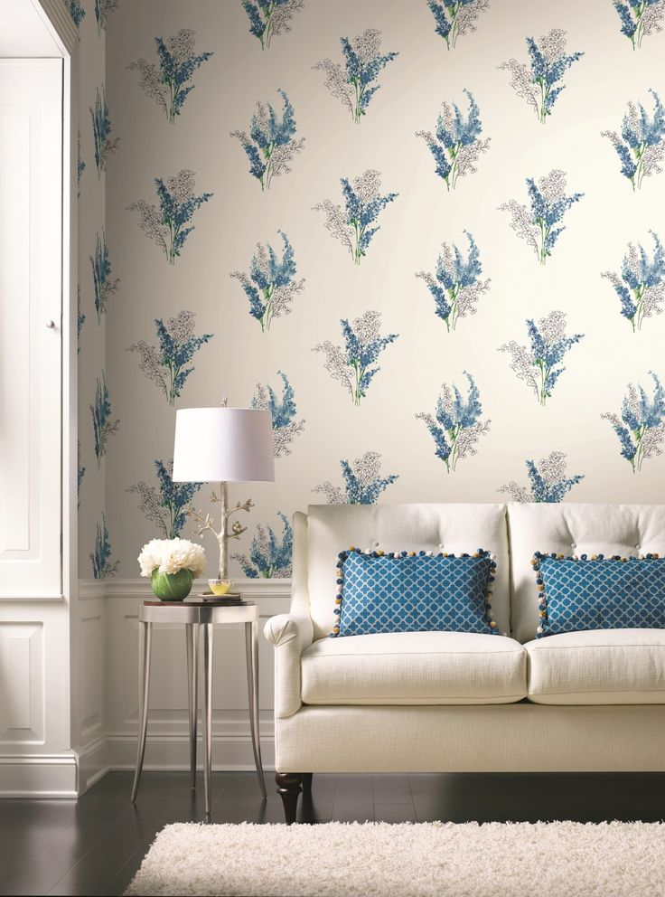 Watercolour inspired floral design wallpaper in blue tones on a cream background, from the Watercolours collection by Carey Lind Designs, WT4572 by York Wallcoverings. Available through Guthrie Bowron stores in New Zealand.
