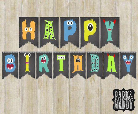 little monster birthday banner chalkboard printable monster party