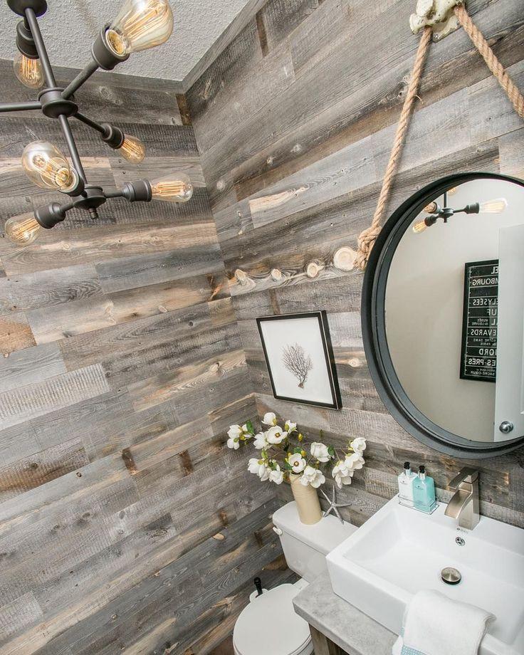 creative bathroom wood feature wall 13