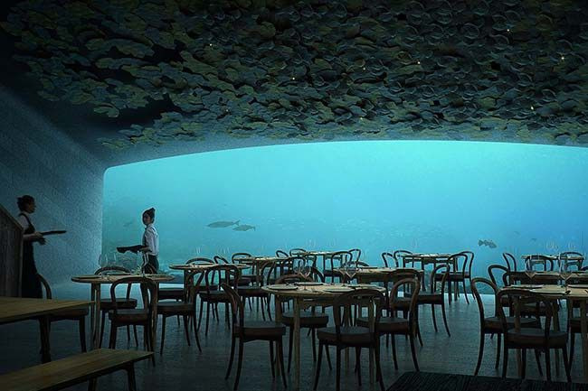 Norwegian architectural firm Snøhetta has revealed designs for Under, Europe's first underwater restaurant in the coastal village of Båly, in Norway. The concrete structure will primarily serve as a restaurant for 80-100 guests, but the