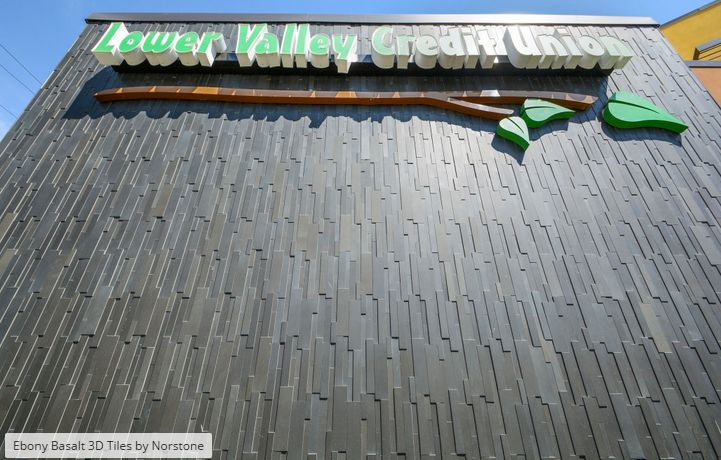 #wall cladding 3D Ebony pavers on commercial retail project