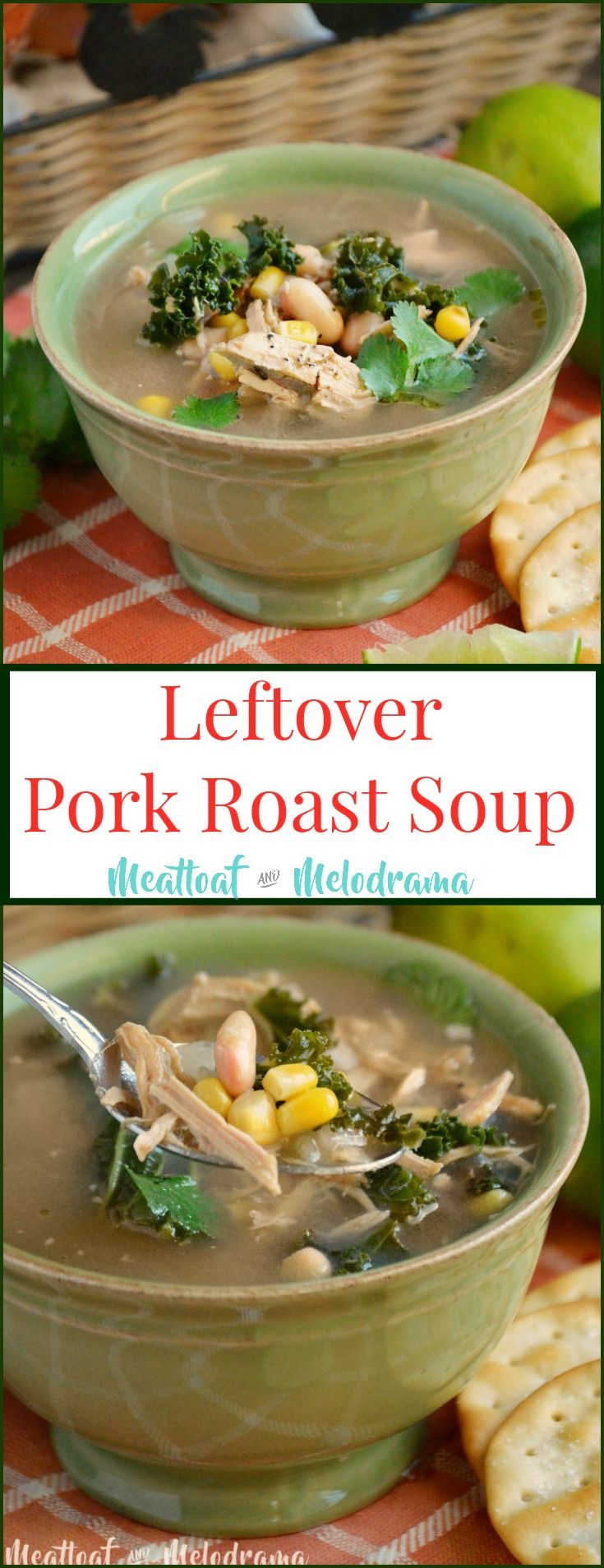 Leftover Pork Roast Soup -  A quick and easy dinner made with pulled pork, roasted corn, white beans and kale that's gluten free! from Meatloaf and Melodrama