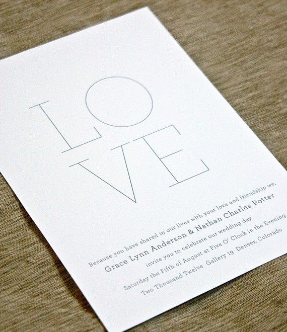 Minima  Flat or Letterpress Wedding Invitation  by paperandparcel, $50.00