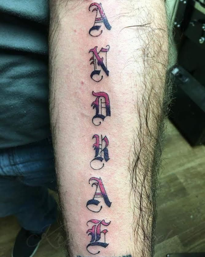 Old english letter tattoos done by Kristen Steele at Walls of Wonder in Dover, DE