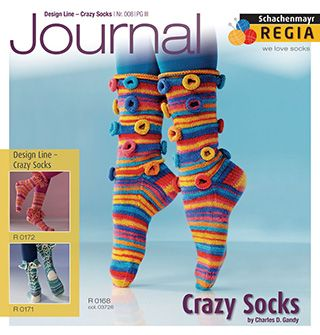 Crazy Socks Journal 008 from Regia We have never seen socks like this before - knitted in plain and multi coloured 4 ply Regia sock yarn: socks with fringes, socks with zips, socks with rings on them and socks with scales on them! We just love these socks! - English Yarns