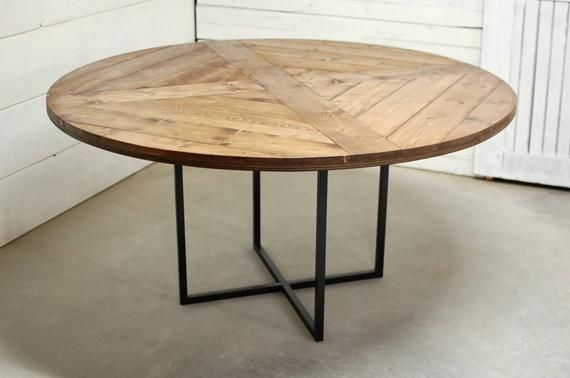 Round Wood Industrial Dining Table Wood Furniture Modern Etsy Modern Kitchen Tables Industrial Dining Table Dining Table