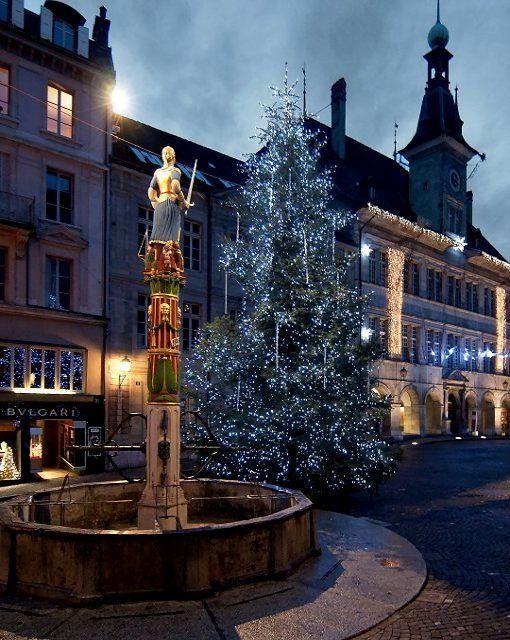 Place de la Palud Christmas tree, Lausanne, Switzerland | by matthieu valentin