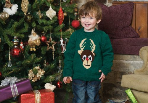 Learn how to knit this Child's Reindeer sweater with Patons' Yarn