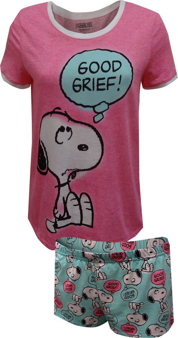 There is just something lovable about Snoopy! This 100% cotton Junior Cut pajama set for women features everyone's favorite Peanuts dog saying Charlie Brown's favorite expression... Good Grief! The ringer-style top is a bright pink and the coordinating sleep shorts are a nice aqua blue color. The shorts feature a covered elastic waistband for comfy sleeping. Machine wash, easy care, Junior cut.