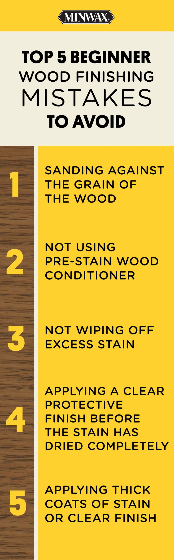 Are you new to wood finishing? Make sure to avoid these mistakes to get the best results. Click for more tips and DIY ideas from Minwax® wood finishing expert Bruce Johnson.