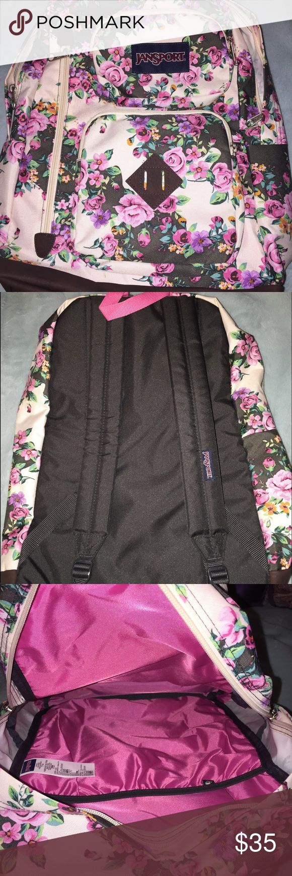 Floral jansport backpack Never used jansport backback, pretty floral print and pink inside, had a laptop compartment inside as well. Jansport Bags Backpacks