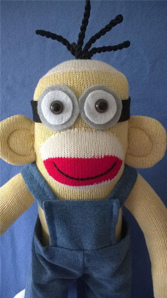 Sock Monkey Minion Doll ...available in my Etsy shop.  www.sockmonkeyangel.etsy.com
