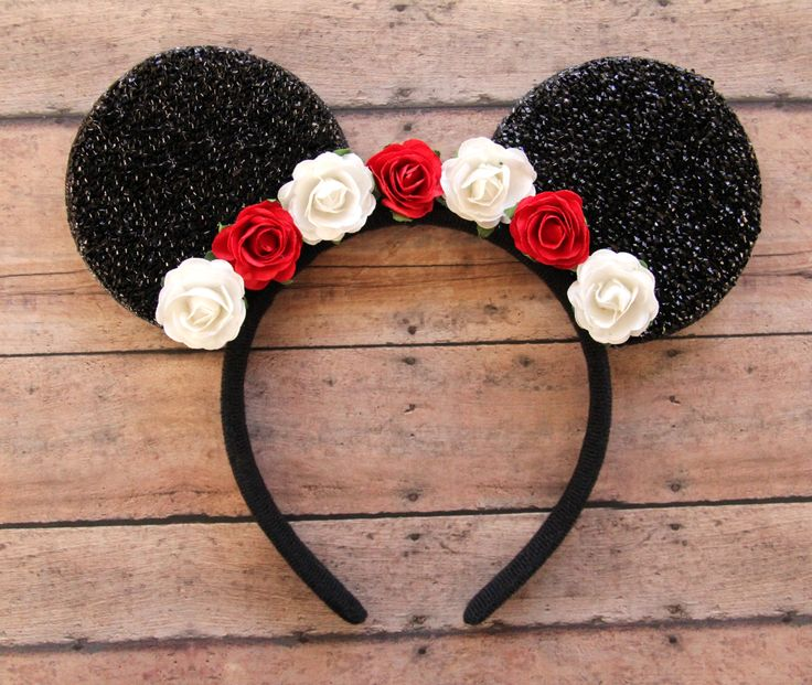 Flower Mickey Ears Floral Mickey Ears Christmas Mickey by Ulous