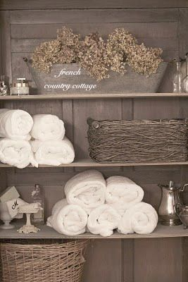 FRENCH COUNTRY COTTAGE: FRENCH COTTAGE BATH Great idea for bathroom decor, will look lovely against the white metro tiles
