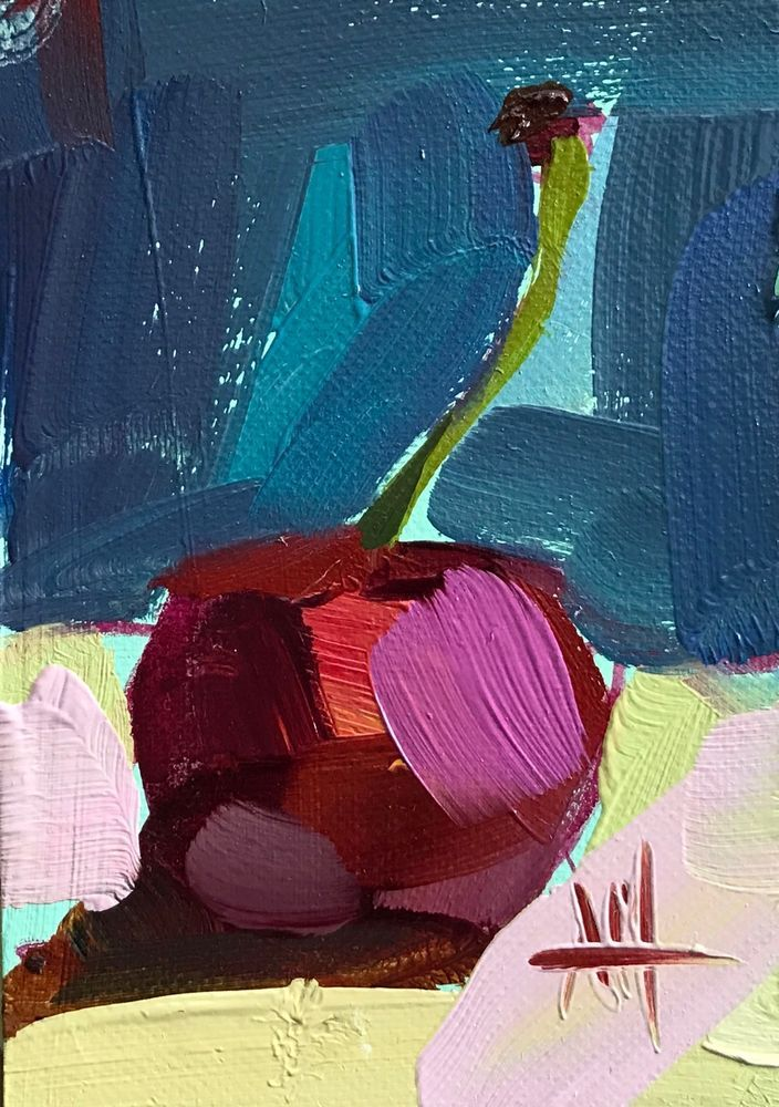 Cherry no. 16 original still life oil painting Angela Moulton ACEO Art #Impressionism