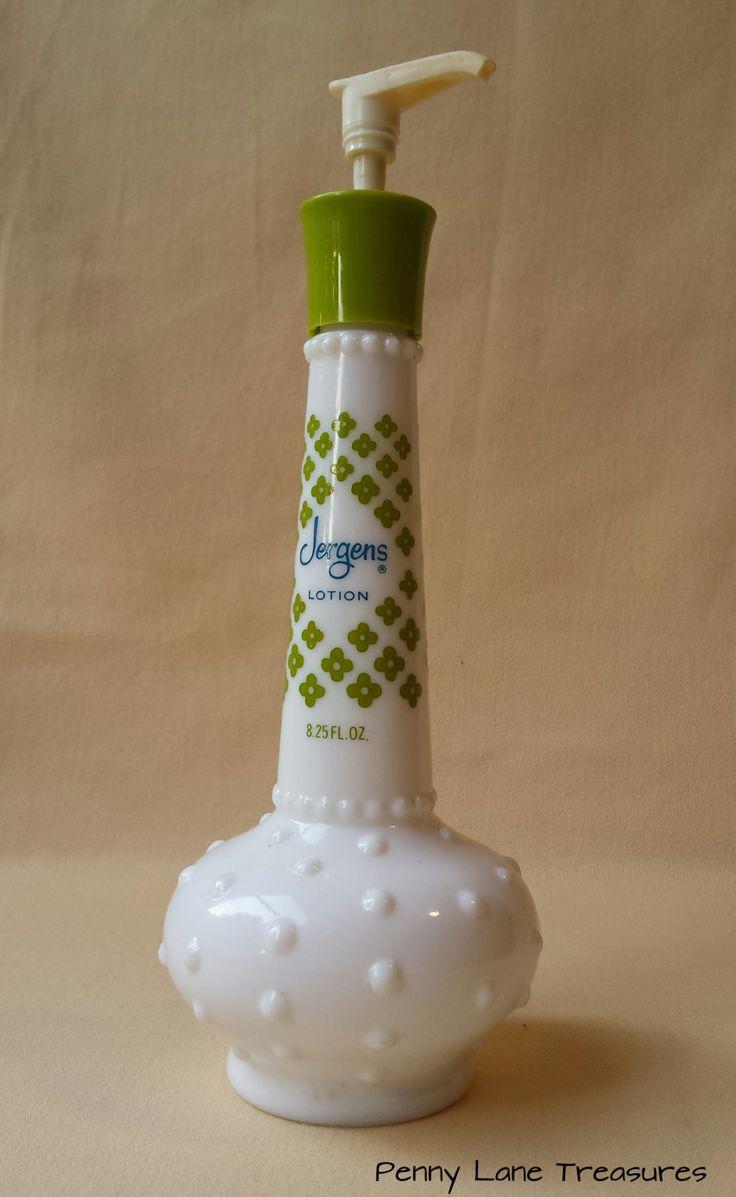 Vintage Jergens Lotion Bottle Hobnail Milk Glass