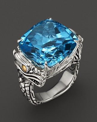 John Hardy Naga 18K Gold and Sterling Silver Batu Square Sky Blue Topaz Ring | Bloomingdale's