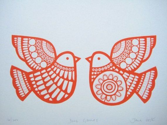 Scandinavian style Dove Games screen print by Jane Foster