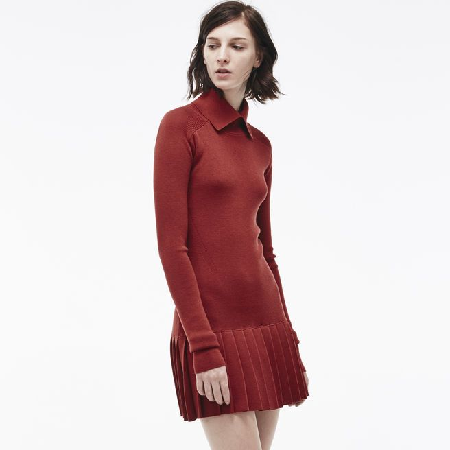 Fashion show pleated dress in wool with stand-up collar