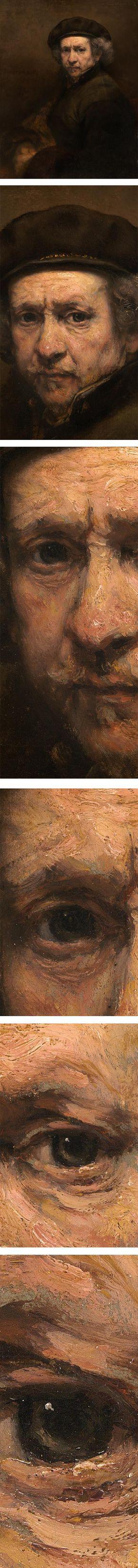 """Rembrandt self-portrait, no viajo a Italia pero tenía conocimiento de la obra de Tiziano, fue determinante para su pintura el conocimiento de la pintura veneciana, lo que explica la """"manera áspera"""" que es como se llamaba en el siglo XVII la pintura a base de manchas y materia pictórica creando una superficie rugosa.  Muy lejos de las pinceladas imposibles de apreciar de otros pintores flamencos a la """"manera fina"""""""
