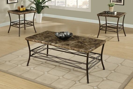 Poundex F3097 3 Pc Brown And Beige Faux Marble Coffee And End