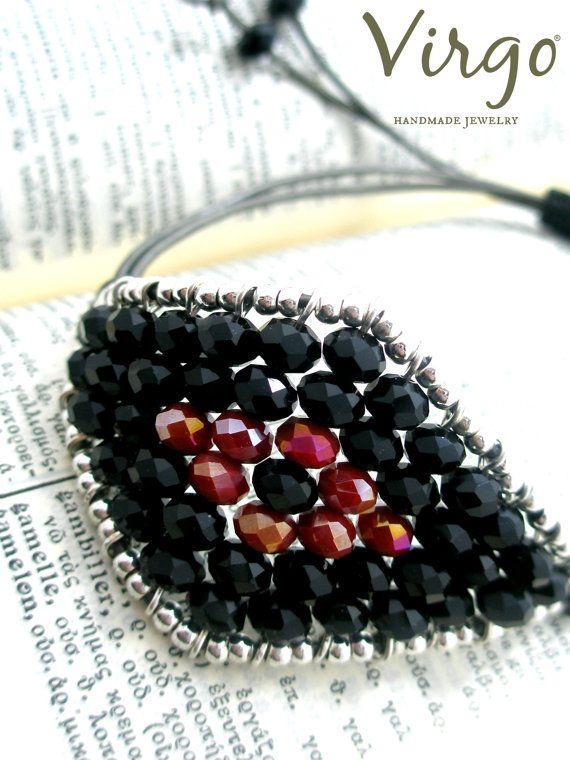 Handmade Crystal Bead Evil Eye Macrame by VirgoHandmadeJewelry