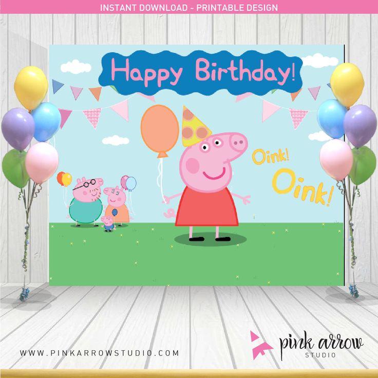 Peppa pig Birthday | Peppa Pig Backdrop | Peppa pig Banner | Happy Birthday Backdrop by PinkArrowStudio on Etsy https://www.etsy.com/listing/252889003/peppa-pig-birthday-peppa-pig-backdrop
