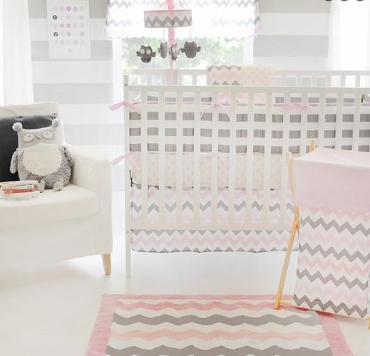 Baby girl nursery in gray and pink